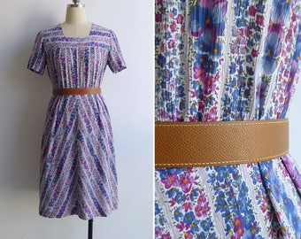 Vintage 50's 'Periwinkle' Striped Floral Square Neck Day Dress M or L