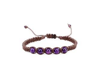 Amethyst Bracelet, Gemstone Bracelet, Friendship Bracelet, Yoga Bracelet, Chakra Bracelet, Crown Chakra Bracelet