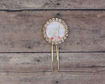 Initial Planner Paper Clip, Monogram Planner Clip, Personalized Planner Accessories, Pink and Gold Planner Decor, One Metal Bookmark