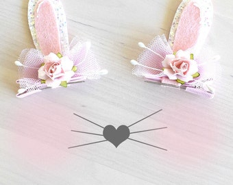 Bunny Ears Hair Clips - Pink & White