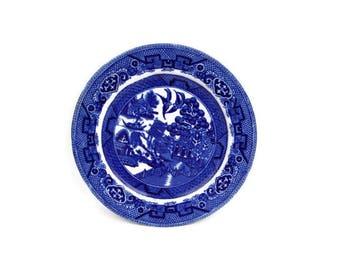Vintage Dudson Wilcox Till Blue Willow Salad Plate Hanley England Britannic Pottery Dessert Dish