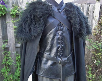 Black Cloak W/ Fur Mantle, Adjustable Leather Chest Straps - Deluxe