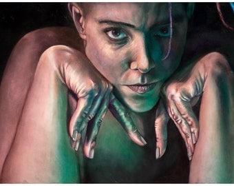 HYPERMOBILITY: Self-Portrait  (art print by Mandem) - Figure Painting - disability / disabled / EDS / cripplepunk art