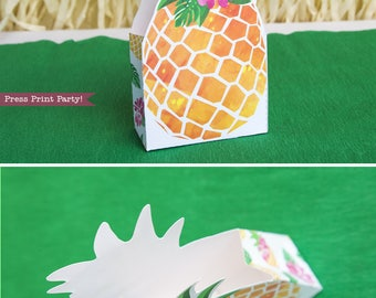 Pineapple Gift Bag printable, Luau Favor Bag, Treat Box, Gold Pineapple, Party like Pineapple, Luau Party Supplies, INSTANT DOWNLOAD