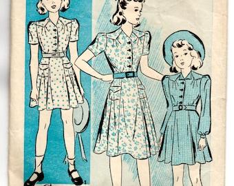 """1940's Advance Girl's Shirtwaist Dress Pattern - 10 years - Bust 28"""" - No. 2541"""