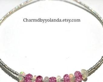 Minimalist Beaded Ethiopian Fire Opal Gemstone Pink Sapphire Gemstone and Solid Sterling Silver Seed Beads Dainty Bracelet Small bracelet