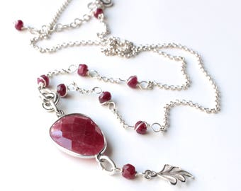 Ruby Necklace, Sterling Silver wire wrap, pinkish-red gemstone, leaf charm, boho luxe style, July birthstone, holiday gift for her, 2929