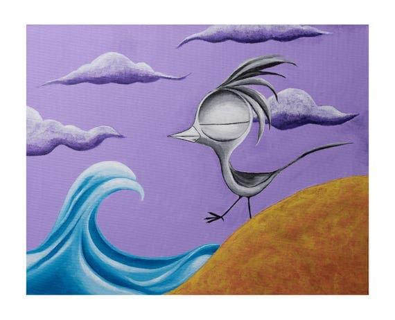 Inspirational Art Print - Bird on a Beach, Dream Bird Art, 8x10, 11x14, 16x20 Giclee Print, Limited Edition, Ocean Beach Art Print