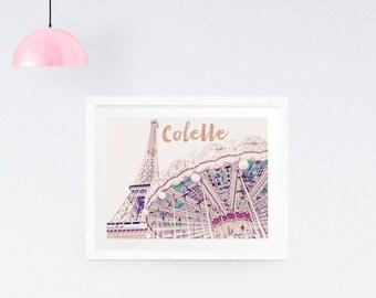 Dorm Decor, Personalised Paris Photography Print, Eiffel Tower Photo, Paris Wall Art, Carousel art