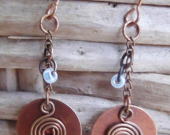 Antiqued copper earrings, hammered spiral copper wire, light blue beads, copper chain, handmade in Hawaii, FREE SHIPPING