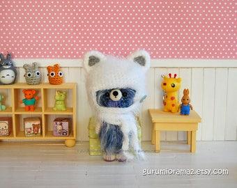 fuzzy Bear in kitty helmet hat, kawaii amigurumi crochet bear, blue mix plush stuffed bear, bear for dolls