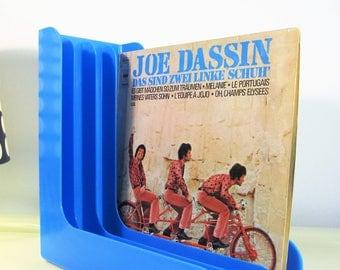 Vintage Record Player Holder Blue Color ABS Plastic Rack Record Holder Stand Vinyls Rack Storage LP Vinyls Record Rack Made in Holland 70s