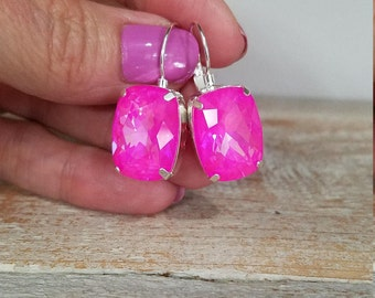 ON SALE! Genuine Swarovski Fancy Ultra Rivoli Hot Pink Crystal Dangle Earings 18 x 13mm
