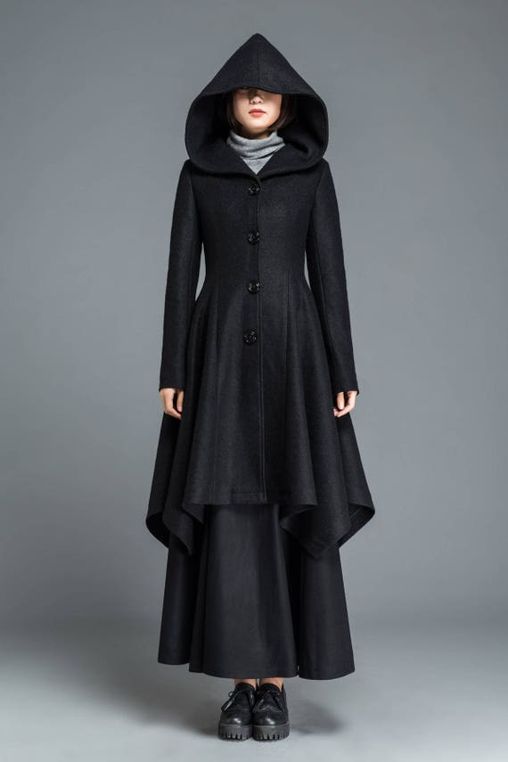 Black hooded coat dress