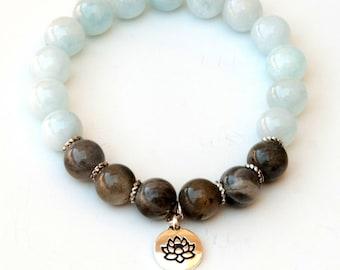 Aquamarine bracelet, march birthstone, lotus bracelet, aquamarine jewelry, aquamarine, healing bracelet, spiritual bracelet