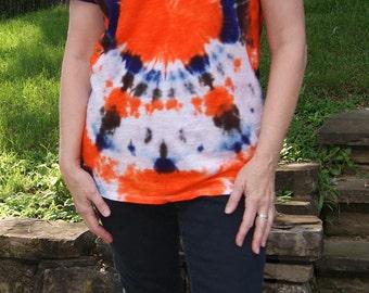 Colorful Women's XL Tie Dye T-Shirt, XL Cotton Tie Dye Shirt, Orange, Brown, Indigo and White Tie Dye Shirt, Summer Boho Beach Style