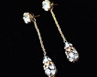 Napier Rhinestone Earrings ~ Vintage Long Chain Cluster Dangle Ball Drops ~ Clear Crystal Rhinestones