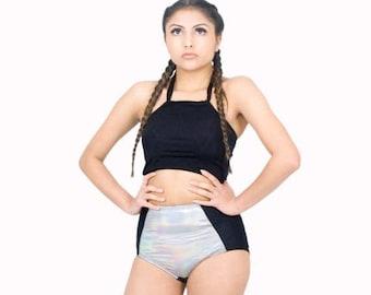 Cropped Halter Top Black Spandex Rash Guard Summer Top Swimsuit
