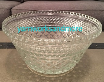 Wexford Salad Bowl, Anchor Hocking Wexford, Wexford Punch Bowl Base, Cut Glass, Criss Cross Glass, Diamond Glass, Vintage 1970s