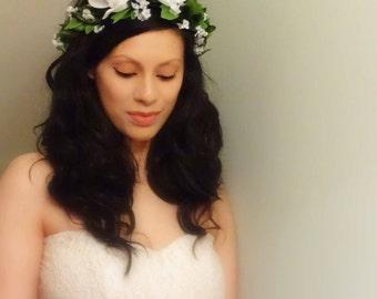 Floral Crown, Maternity Crown, White Flower Crown, Floral Headpiece