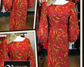 Vintage Red Gold Tapestry Print Dress FREE SHIPPING
