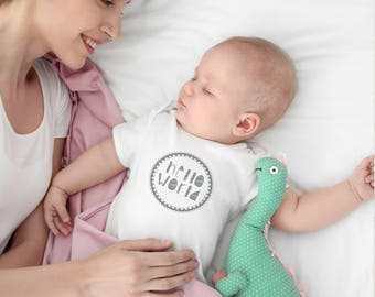 Hello World Onesie - Coming Home Outfit / First Bodysuit /  Unisex Baby Shower Gift / Baby Gift / Baby One Piece.