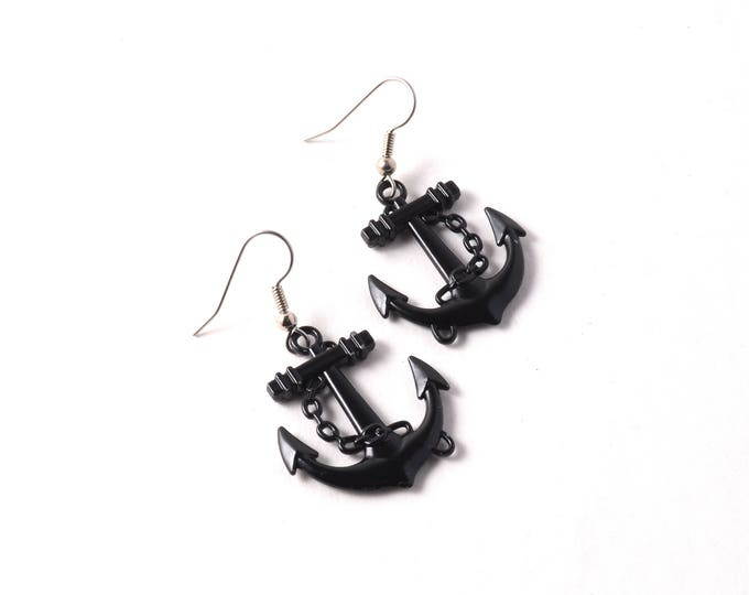 Black Enameled Anchor Charm Earrings on Your Choice of Hypoallergenic Surgical Stainless Steel or 925 Sterling Silver Ear Wires