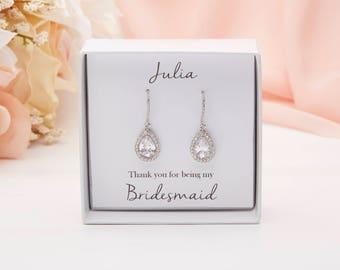 Bridal Earrings, White Gold Drop Earrings, White Gold Dangle Earrings,