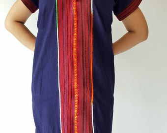DR0038 Navy Mini Cotton Dress,made by Hilltribe fabric, Mini dress's very lovely work, Woven red cloth on neck and sleeve chest and pocket.