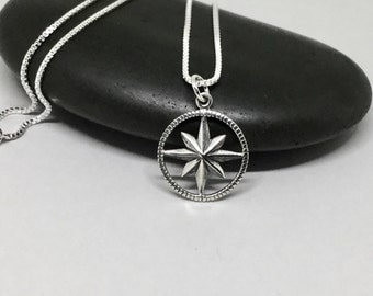 Sterling Silver Compass Charm Necklace Compass Rose Pendant Celestial Nautical Jewelry Silver Charm