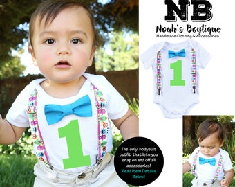 Little Monster Birthday Outfit - Little Monster First Birthday Shirt - Bow Tie and Suspenders - Blue Lime Orange Purple Green  1st Birthday
