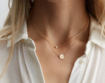 Set 972 • Personalized Initial Disk Necklace Set: Pearl/Birthstone Necklace & Circle w/ Custom Letter • 2 Dainty Necklaces to Customize