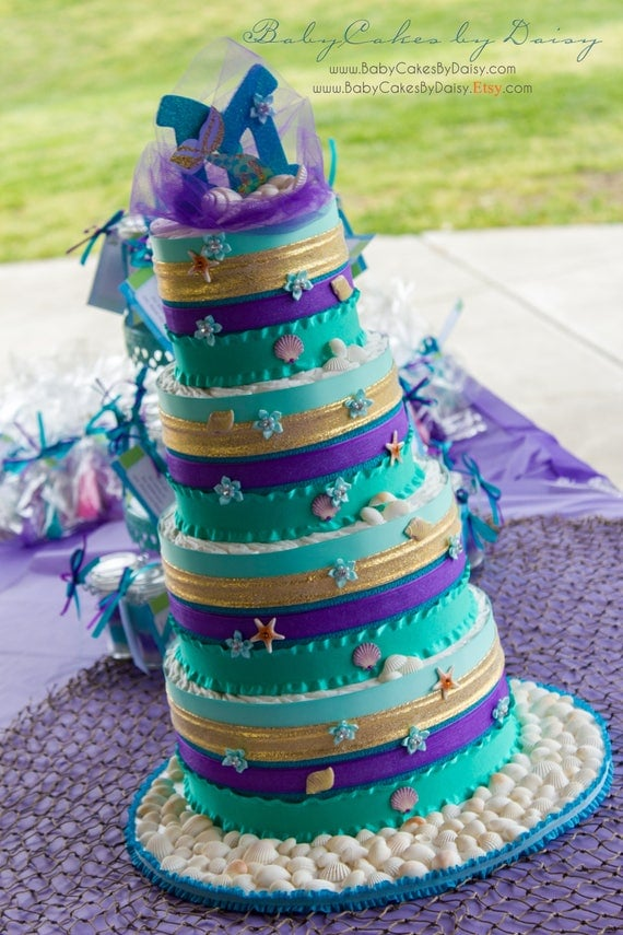 Mermaid Diaper Cake | Mermaid Baby Shower Cake | Mermaid Baby Shower | Teal Purple Diaper Cake | Mermaid Theme Cake | Pampers Cake | Mermaid