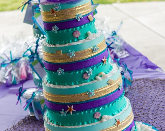 Mermaid Diaper Cake   Mermaid Baby Shower Cake   Mermaid Baby Shower   Teal Purple Diaper Cake   Mermaid Theme Cake