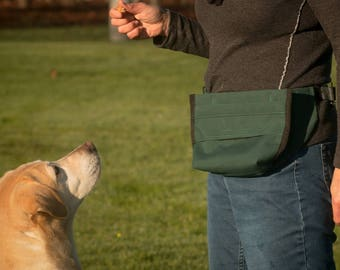 Dog Treat Training Pouch Bait Bag with French Spring Hinge - IMPROVED Design!
