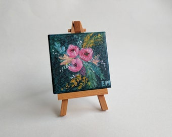 Navy Floral Bouquet Painting - Original Mini Oil Painting - 3 x 3 inches on canvas