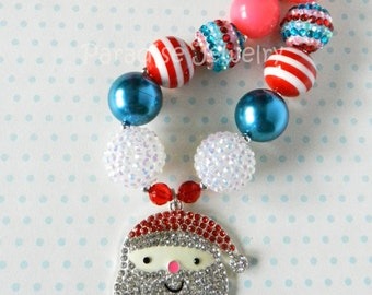 Christmas Chunky Bubblegum Bead Necklace, Rhinestone Santa With Hat, Winter Holiday, Photo Prop, Childs St Nicholas, Blue Pink Red
