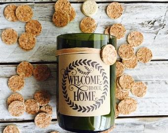 Welcome to our home...Candles made out of recycled wine bottles