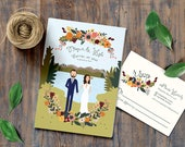 Autumn and Fall Lake Wedding Invitations // Custom Background // Illustrated Couples Portrait // Illustrated Family Portrait