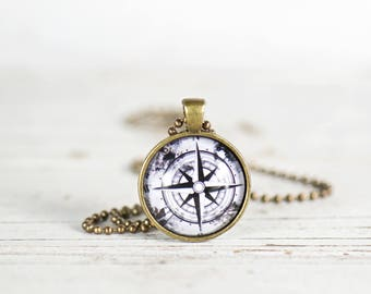 Compass Necklace. Gifts for Her. Jewelry Gifts Under 20. Find Your Direction. Enjoy the Journey. Pendant Necklace. Navigation Jewelry Gifts