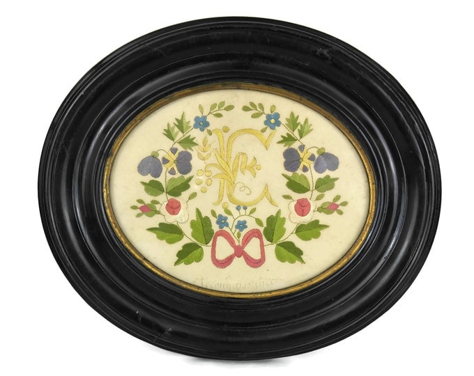 Antique French Monogram Initials & Flower Embroidery.
