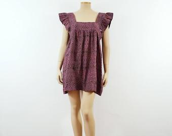 Hope Babydoll Dress | 70s vtg Indian Block Print dress | 1970s Deadstock India Boho dress Hippie dress Flutter sleeve mini Butterfly tunic