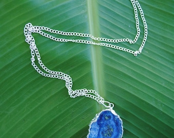 Ocean Blue Cosmic Agate Slice Stone Necklace on Long Silver Chain