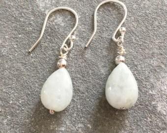 Green Jade Earrings, Sterling Silver Jade Earrings, Jadeite Earrings, Jade Jewellery, Jade Jewelry Gift for Her, Jade Dangle Teardrop
