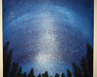 Blue starry night painting