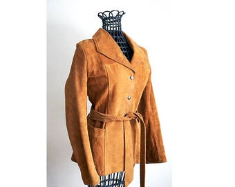 Vintage Women's Suede Jacket - Tan Brown Belted Snap Front Jacket - Made in Canada - 60s 70s - Size XS Small