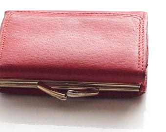 Red Wallet, Red Leather Wallet, Red Purse, Vintage Wallet, Women's Wallet, Soft Leather Wallet, Red Fabretti Wallet, Her