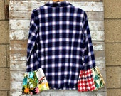 Flared Sleeve Flannel Shirt - Upcycled Women's Plaid Bell Sleeve Shirt - Buffalo Plaid - Hippie Clothing
