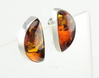 Sterling Silver Amber Clip On Earrings by Lori Bonn