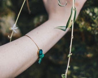 t e r r a. collection 50% proceeds to Rainforest Alliance / Bohemia/ bracelet / bangle / green beaded / turquoise / natural stone / brass
